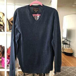 Black Brown Blue V Neck Merino Sweater